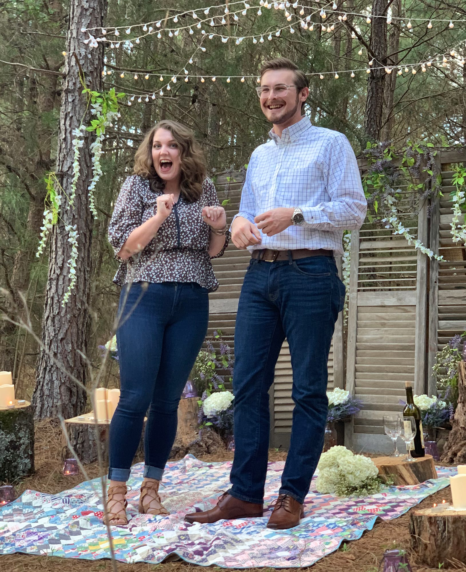 Nick and Cassie after getting engaged
