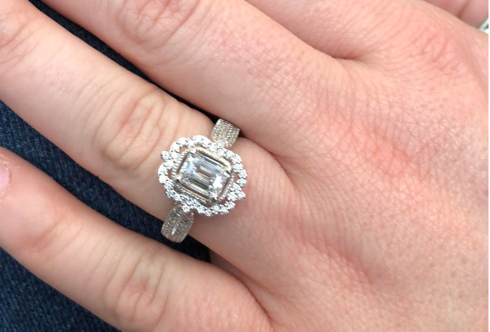 Close up image of a custom designed engagement ring